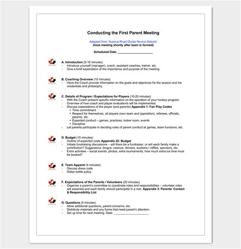 parent meeting report template meeting outline template 13 formats exles and sles