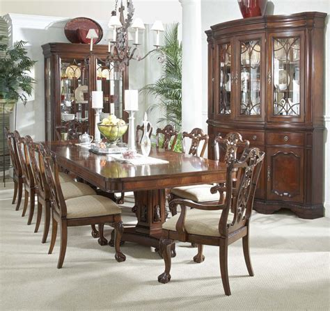 12 mahogany dining set table chairs china cabinet ebay