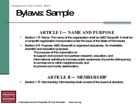 Bylaws For Nonprofit Organizations Template by Starting A Nonprofit In Minnesota