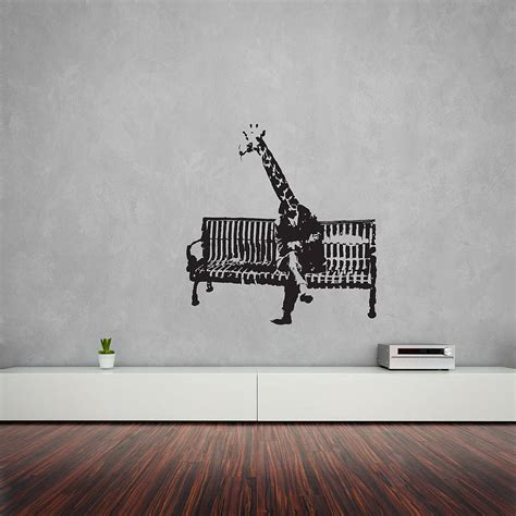 wall art banksy giraffe on bench vinyl wall art decal by vinyl