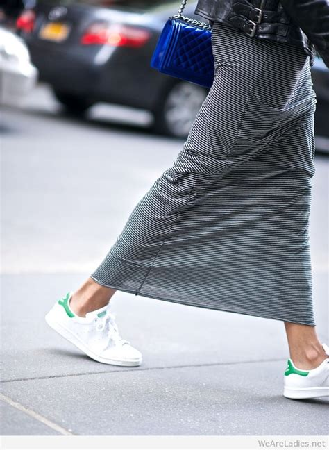 stretchy maxi skirt with casual white trainers