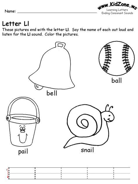 L Sound Worksheets by Ending Consonant Sound Worksheets