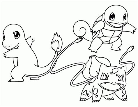 pokemon charmander and squirtle coloring pages sketch