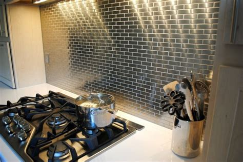 mini subway tile kitchen backsplash meta steel over ceramic mini subway tile backsplash