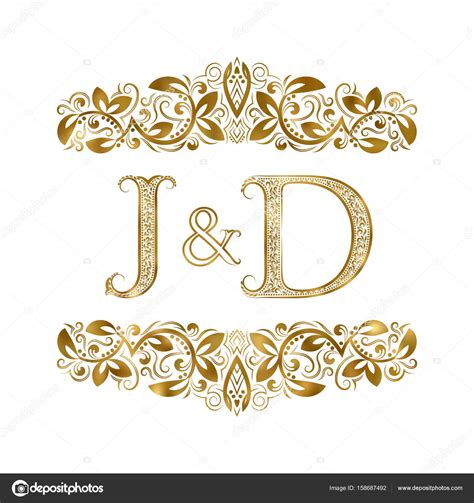 j d j and d vintage initials logo symbol the letters are