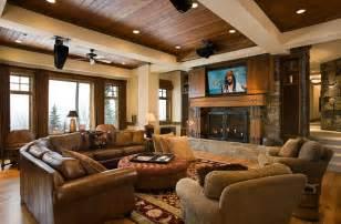 rustikales wohnzimmer tv above fireplace design ideas
