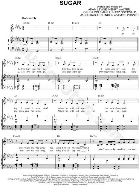 printable lyrics sugar maroon 5 maroon 5 quot sugar quot sheet music in db major transposable