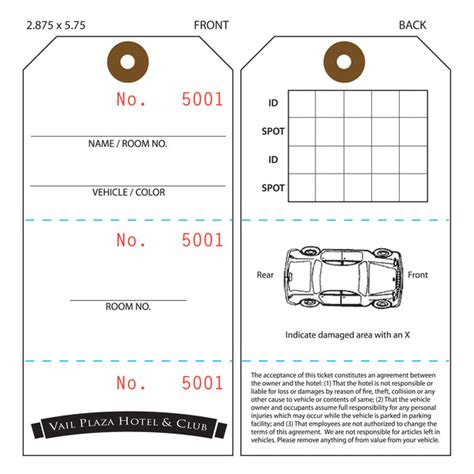 parking tag template custom printed valet ticket parking tags st louis tag