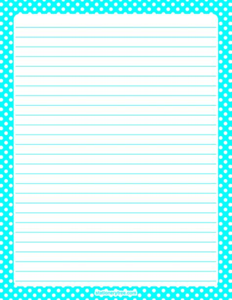 pattern writing paper printable aqua polka dot stationery