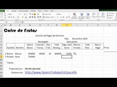 calculo de nominas en excel 2008 2013 automatizado herramientas de planilla de pago en excel wmv doovi
