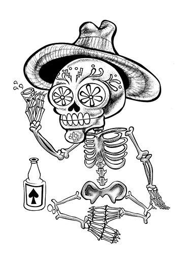 tequila drinking day   dead skeleton tequila