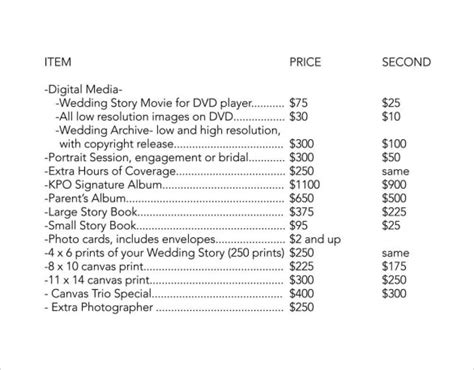 wedding price list samples sample templates