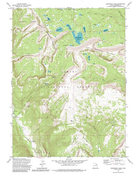 topographical map of utah grandaddy lake topographic map ut usgs topo 40110e7