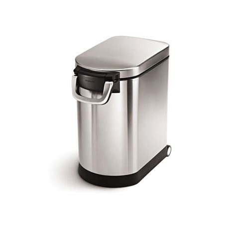 stainless steel kitchen food storage simplehuman medium pet food storage can in fingerprint