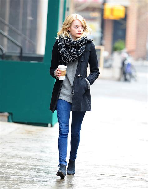 emma stone fashion emma stone took a walk on the wet streets of nyc in a