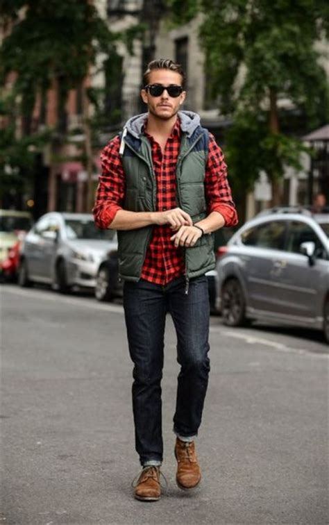 picture of with plaid shirt cuffed and brown boots