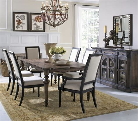 accentrics home desdemona rectangular dining room set from dark wood dining table with scalloped edges from