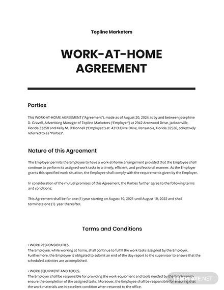 Work-at-Home Agreement Template - Word | Google Docs