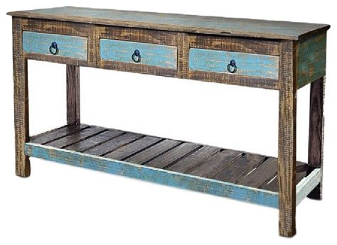solid wood sofa table with drawers reclaimed solid wood 3 drawer console table console