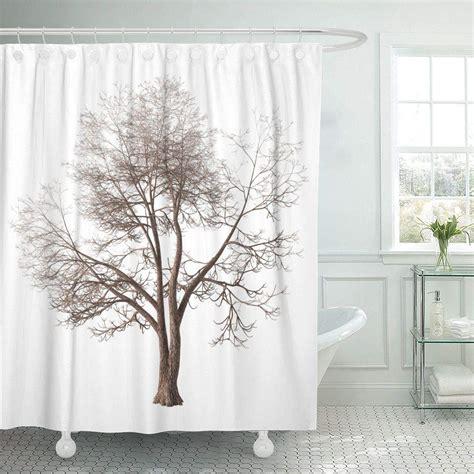 shower curtain  hooks winter tree  forked trunk