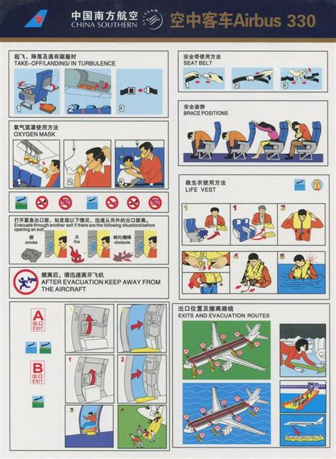 Collection Of Airline Safety Cards by China Southern Airlines Airbus A330 Safety Card 2012