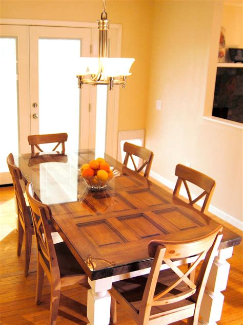 Dining Table In Front Of Doors How To Build A Dining Table From An Door And Posts Hgtv