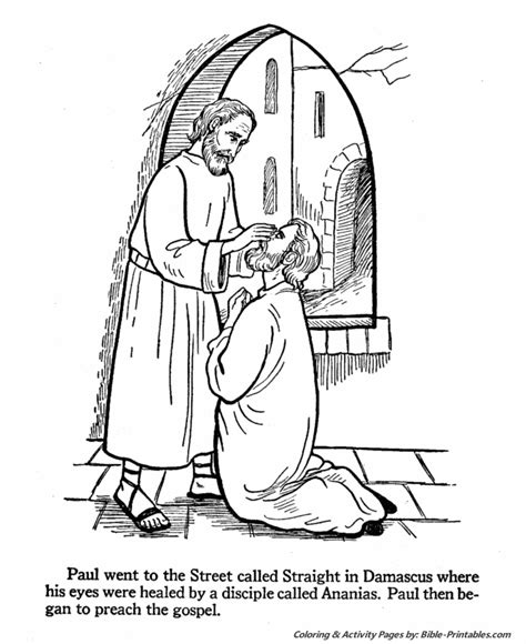 the apostles coloring pages paul s sight restored by