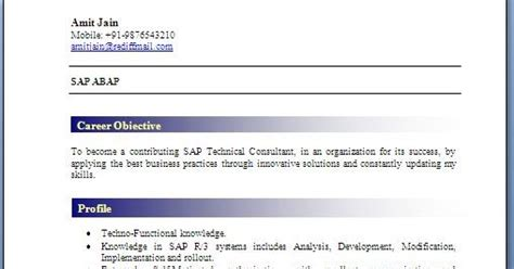 Abap Fresher Resume Format by Abap Fresher Resume Format