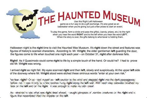 printable children s ghost stories right left game the haunted museum halloween gift passing
