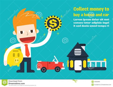 money to buy a house collect money to buy a house and car stock vector image 43930969
