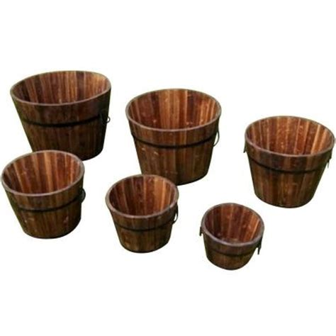 devault enterprises wooden whiskey barrel set of 6
