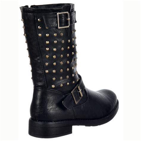 biker ankle boots shoekandi buckled biker ankle boot studded black