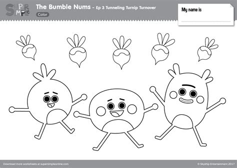 bumble nums color episode  tunneling turnip turnover super simple
