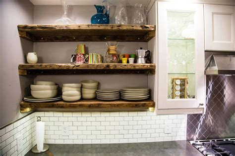 open reclaimed wood shelving in our kitchen made from