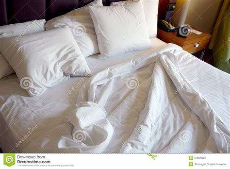 used beds used bed in hotel room stock image image of hospitality