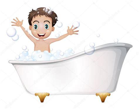 bathtub illustration a little boy at the bathtub stock vector