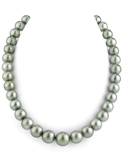 11 13mm silver tahitian south sea pearl necklace