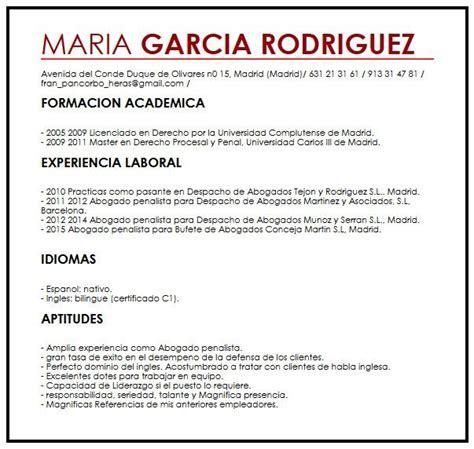 Modelo De Curriculum Vitae Para Abogados Argentina Modelo Cv Europeo Muestra De Curriculum Vitae