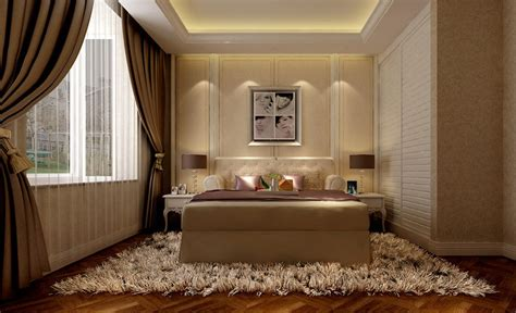 Interior Design For A Bedroom Of A Modern Minimalist Light Brown Bedroom Interior Design 3d
