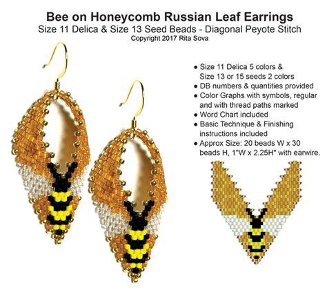 Beaded Leaf Earrings bee on honeycomb russian leaf earrings bead patterns