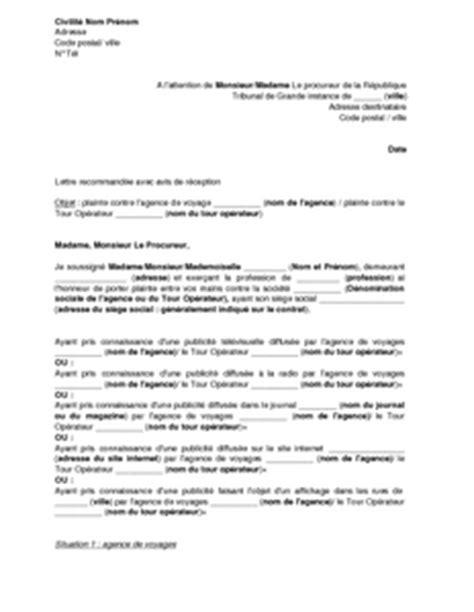 modele de lettre plainte au procureur contrat de travail