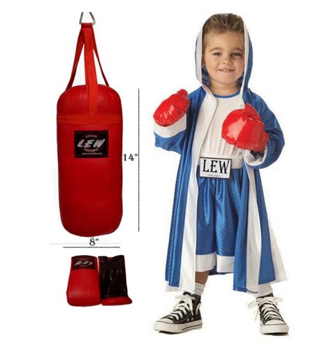 lew punching bag set for bag and a pair of gloves by