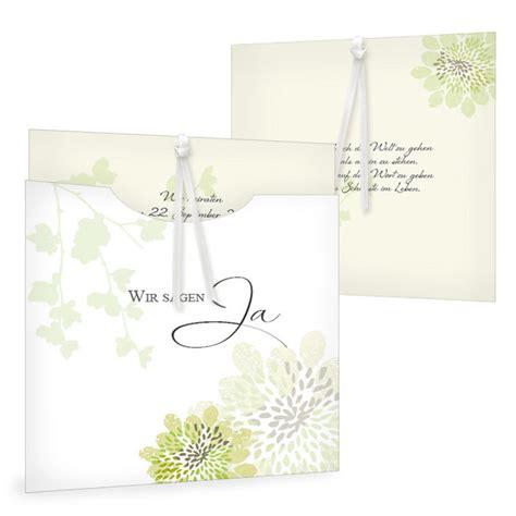 Einladung Hochzeit Gr N by Florale Einladung Zur Hochzeit Als Einsteckkarte In Gr 252 N
