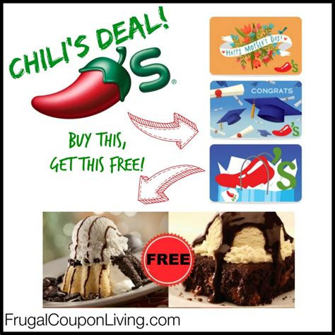 Chili Gift Card - chili s gift card deal spend at least 25 get free dessert coupon