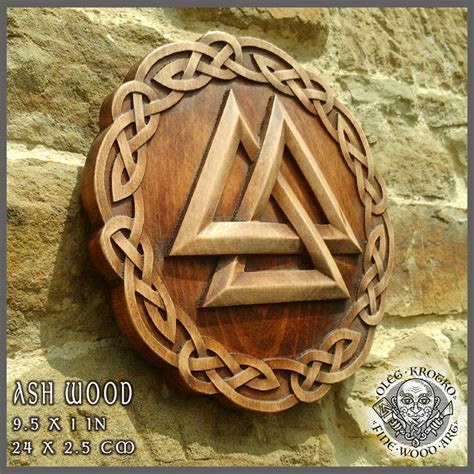 viking home decor valknut hand made wood carved picture viking compass
