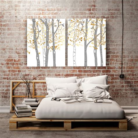 birch trees wall large canvas prints large tree