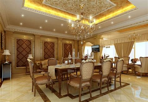 Dining Room Ceiling Decor Gold Ceiling With Cove Lighting And Chandelier