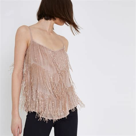 beaded top pink beaded cami top cami sleeveless tops tops