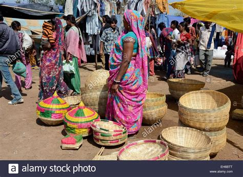 Handcrafted In India - handmade woven baskets for sale at a weekly market