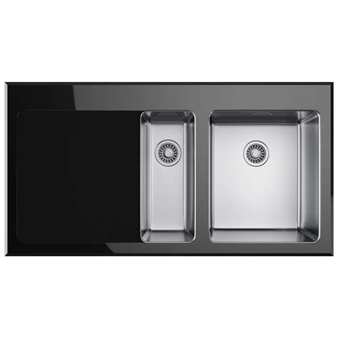 Glass Kitchen Sinks Franke Kubus Kbv 651 Black Glass 1 5 Bowl Inset Kitchen Sink 1010052397